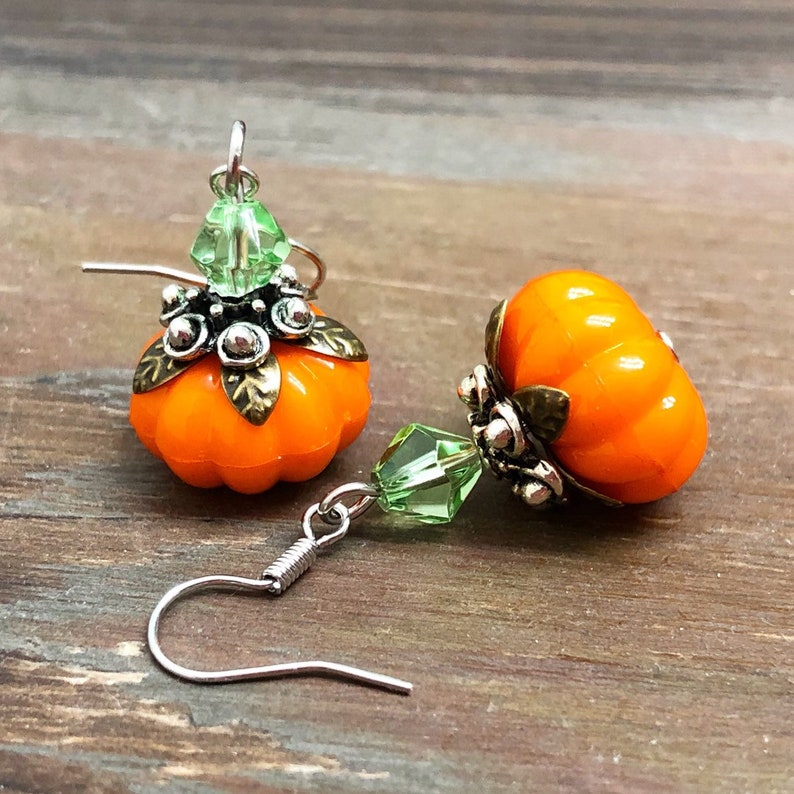 Thanksgiving Earrings Lightweight Acrylic Pumpkin Earrings image 0