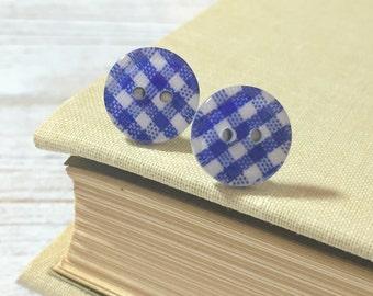 Blue Plaid Earrings, Blue Post Earrings, Button Stud Earrings, Surgical Steel, Blue Gingham Sewing Button Post Earrings (LB1)