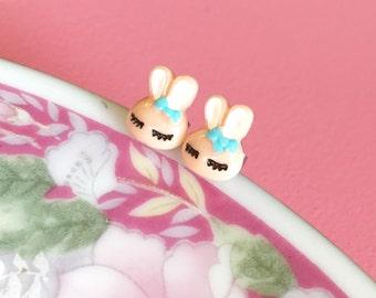 Rabbit Earrings, Darling Little Easter Bunny Earrings, Tiny Rabbit Studs, Beige Easter Bunny Studs, Kawaii Easter Gift Idea, KreatedByKelly