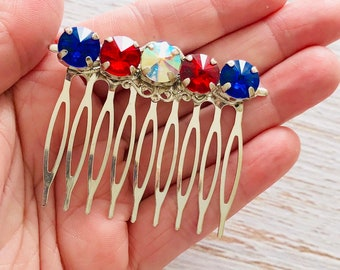 Fourth of July USA Red White and Blue Rhinestone Hair Comb for Independence Day