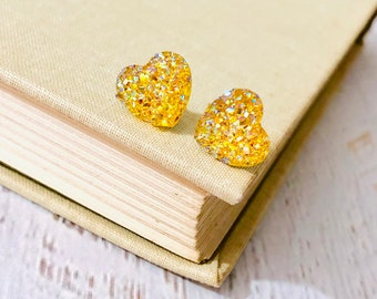 Small Sunshine Yellow Sparkly Glittery Faux Druzy Small Heart Earrings for Valentine's Day, Surgical Steel