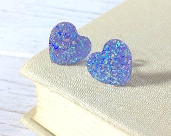 Faux Druzy Heart Earrings, Sparkly Earrings, Lavender Heart Earrings, Purple Heart Earrings, Stainless Steel, KreatedByKelly (L-SE1)(S-SE20)