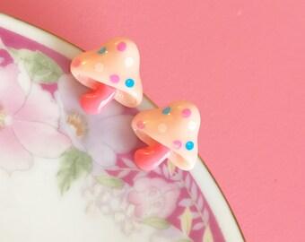 Pink Mushroom Earrings, Pink Woodland Earrings, Pink Mushroom Studs, Polka Dot Topped Mushroom Earrings, Kawaii Earrings (LB5)