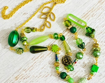 St. Patrick's Day Necklace, Long Green Layering Necklace Made With a Mixture of Beads: Vintage, Modern, Czech Glass, Rhinestone and Metals