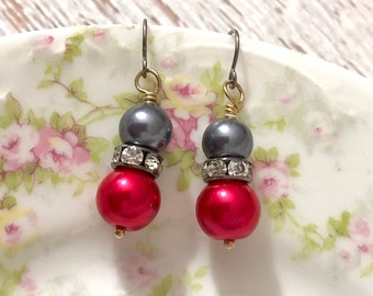 Gunmetal Gray and Lipstick Red Pearl and Rhinestone Earrings with Stainless Steel Ear Wires