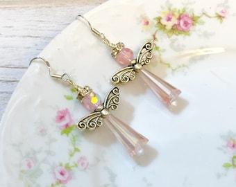 Pink Angel Earrings, Pink Crystal Angel Earrings, Christian Jewelry, Sterling Silver Ear Wires, Pink Glass Earrings, KreatedByKelly