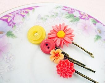 Floral Hair Accessories, Women Flower Bobby Pin Set, Button Bobby Pins, Pink Yellow Sunflower