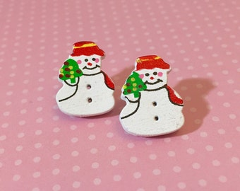 Adorable Painted Wood Snowman Button Studs with Surgical Steel Posts (SE2)