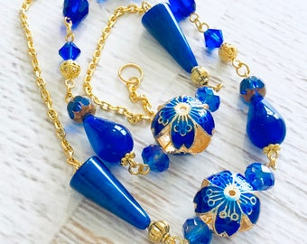 Blues Beaded Necklace with Vintage, Sparkling, Moonglow, Enameled Cloisonne Beads and Gold Toned Findings