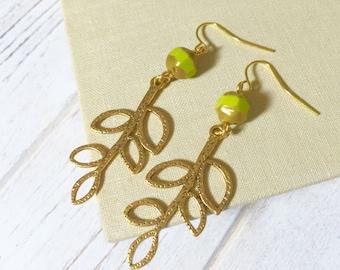 Gold Leaf Earrings, Woodland Earrings, Green Czech Glass Earrings, Autumn Branch Earrings, Fall Leaf Earrings, Whimsical Earthy Earrings