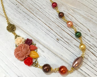 Asymmetrical Necklace, Fall Flower Necklace, Pearl Necklace, Flower Statement Necklace, Autumn Jewelry, Orange Brown Yellow, KreatedByKelly
