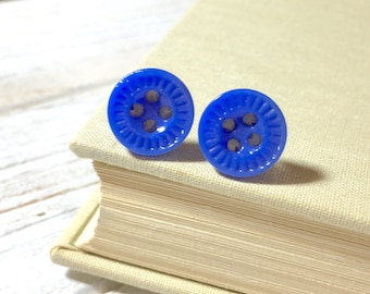Cobalt Blue Glass Earrings, Vintage Button Earrings, Small Studs, Gift for Friend, Blue Button Stud Earrings, Surgical Steel Studs (SE6)