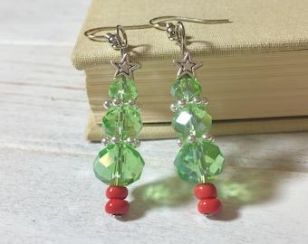 Christmas Tree Earrings, Sparkling Green Glass Tree Earrings, Holiday Earrings, Xmas Earrings, Festive Earrings, Silver Star on Top (DE2)