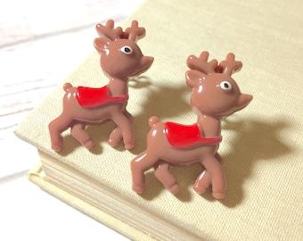 Reindeer Studs, Huge Christmas Studs, Kawaii Deer Studs, Novelty Christmas Studs, Reindeer Studs, Huge Christmas Studs, Surgical Steel Stud