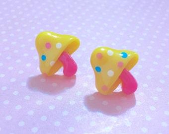 Yellow Mushroom Studs, Woodland Earrings, Polka Dot Topped Mushroom with Pink Stems Stud Earrings, Kawaii, Surgical Steel, Novelty (LB5)
