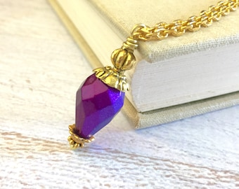 Beaded Pendant Necklace, Chunky Purple Vintage Bead Focal with Tibetan Gold Accents, Hot Air Balloon Layering Necklace (MN0)
