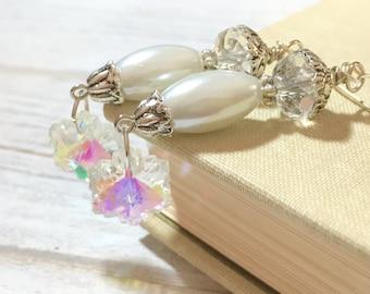 Snowflake Earrings, Christmas Earrings, Holiday Jewelry, Icicle Earrings, Winter Ice Earrings, Silver Snowflake Earrings, KreatedByKelly