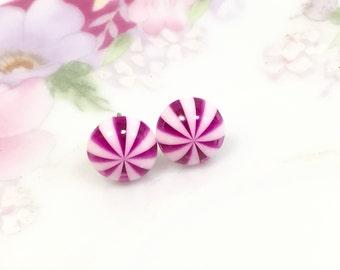 Peppermint Stud Earrings, Pink Stud Earrings, Pink Striped Earrings, Pink White Stripes Studs, Stainless Steel Studs (SE4)