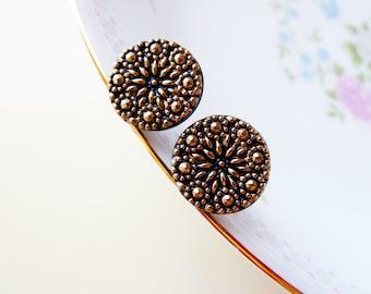 Glass Stud Earrings, Czech Glass Stud Earrings, Gold Flower Studs, Golden Night Flower Earrings Made With Vintage Czech Glass Buttons (GC)