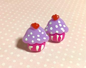 Lavender Cupcake Studs, Kitsch Cupcake Earrings, Sweet Kawaii Food Earrings, Pink Purple Cupcake with Red Cherry on Top (LB5)