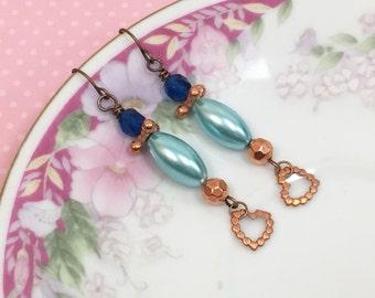 Assemblage Earrings, Copper Heart Earrings, Turquoise Pearl Earrings, Blue and Copper Earrings, Handmade by KreatedByKelly
