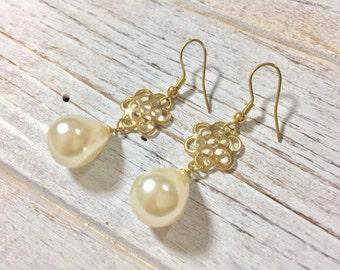 Pearl Drop Earrings, Gold Flower Earrings, Stainless Steel Earrings, Pearl Earrings, Classic Earrings, Flower Jewelry, KreatedbyKelly (HJ3)