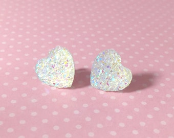 Faux Druzy Heart Earrings, Iridescent Sparkly Earrings, White Heart Earrings, Valentine's Earrings, Rock Star Jewelry, Stainless Steel (SE1)