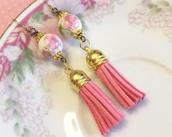 Leather Tassel Earrings, Pink Flower Earrings, Hippie Bohemian Earrings, Ceramic Bead Jewelry, Trendy Tassel Earrings, KreatedByKelly