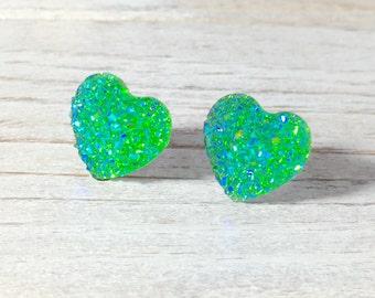 Faux Druzy Heart Earrings, Sparkly Earrings, Green Heart Earrings, Valentine's Earrings, Rock Star Jewelry, Stainless Steel (SE1)