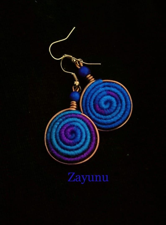 Vortex Yarn earrings Royal Blue and Violet