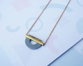 ON SALE Geometric Curve Necklace Grey - Gold Geometric Necklace - Geometric Necklace - Gold Necklace - Gold Jewelry - Minimal Necklace