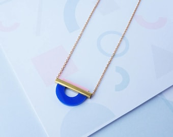 Geometric Curve Necklace Blue - Gold Geometric Necklace - Geometric Necklace - Gold Necklace - Gold Jewelry - Gifts For Her