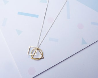 Geometric Shapes Necklace- Simple Silver Gold Necklace - Geometric Necklace - Silver Circle Necklace - Layering Necklace - Gifts For Her