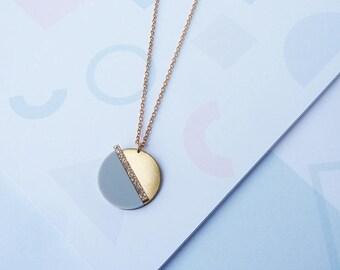 ON SALE Acrylic Geometric Necklace Gold- Gold Necklace - Geometric Necklace - Acrylic Necklace - Minimal Necklace - Geometric Jewellery