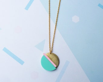 Acrylic Geometric Necklace - Gold Necklace - Geometric Necklace - Acrylic Necklace - Gold Jewelry - Modern Jewellery - Geometric Jewellery