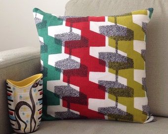 Retro Cushion Vintage Pillow Atomic 1950s Fabric