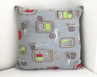 SALE Barkcloth Mid Century Cushion -  Atomic Design Pillow