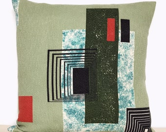 Mid Century Modernist Atomic Barkcloth Cushion Cover Vintage Pillow 1950s