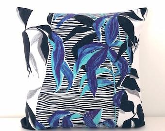 "Vintage Botanical Cushion Fabric Rosebank ""Dubois"" Blue Colourway bamboo design pillow"