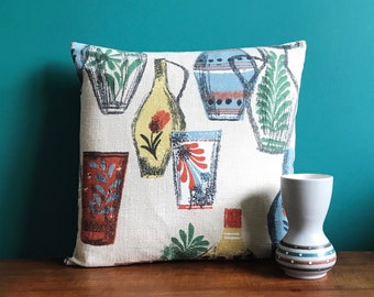 Vintage 60s Barkcloth Cushion Cover  'Pottery' fabric Pillow