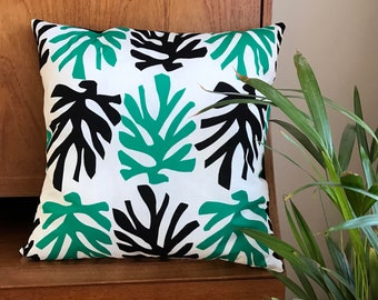 Vintage Leaf Cushion Boho Jungle Palm Leaves botanical pillow