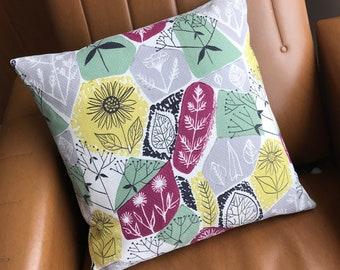 Vintage Barkcloth Cushion Cover  'Sunflowers' fabric by Bernard Wardle Pillow