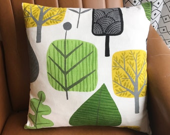 Abstract Tree Design Cushion Boho Jungle Palm Leaves botanical pillow