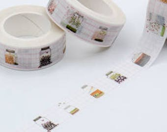 Mason Jar Pink Grid Beautiful Doodle washi tape deco tape masking tape scrapbook planner happy mail craft bullet journal