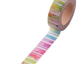 rainbow watercolor stripes art happy mail snailmail washi tape deco masking scrapbook planner diy craft journal traveler's notebook tn