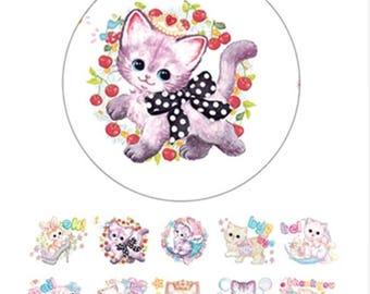 Retro vintage cat kitten kawaii cute adorable washi tape deco tape masking tape scrapbook planner happy mail craft bullet journal