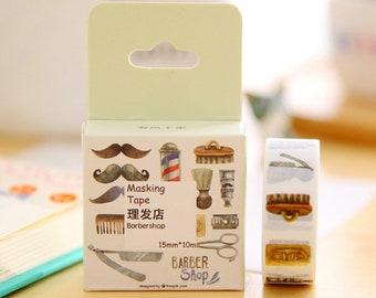 moustache barbershop barber shaving happy mail snailmail washi tape deco masking scrapbook planner diy craft journal traveler's notebook tn