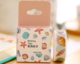 seashell shells shell beach starfish happy mail snailmail washi tape deco masking scrapbook planner diy craft journal traveler's notebook tn