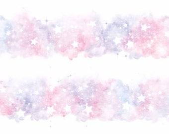 Watercolor stars galaxy fantasy pink blue star washi tape deco masking scrapbook planner diy craft journal traveler's notebook tn