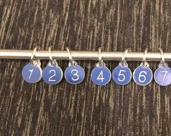Tiny numbered stitch markers -  one to ten